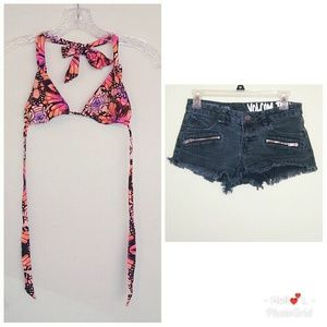 🌞🔥Volcom bathing suit top&Volcom jean shorts